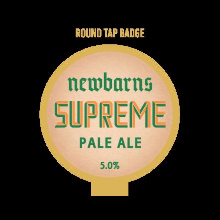 Newbarns Supreme round tap badge